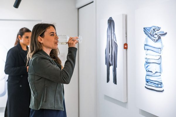 Un-Fancy, Exhibition, Erin Rothstein, Jeans, Leather Jacket, Wine, Taglialatella Galleries, Toronto, Opening