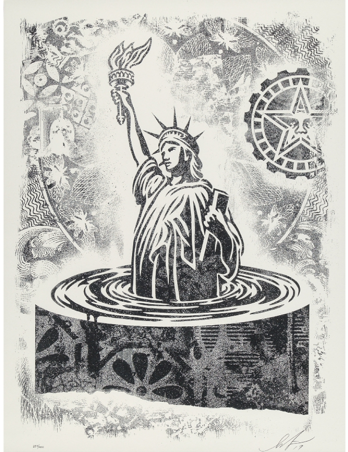 Shepard Fairey, People's Climate March, Damaged Stencil Series