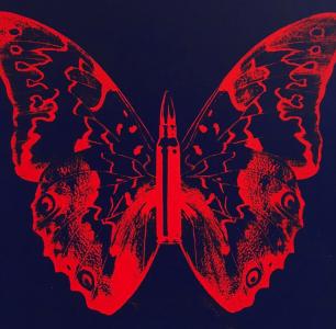 Rubem Robierb, Butterfly II (Blood Orange on Dark Blue)