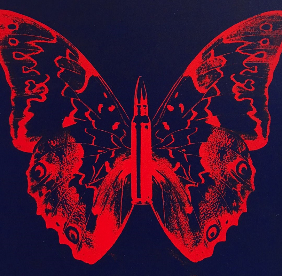 Rubem Robierb, Butterfly II (Blood Orange on Dark Blue)