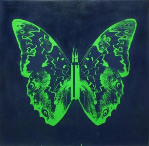 Rubem Robierb, Green Butterfly II on Blue
