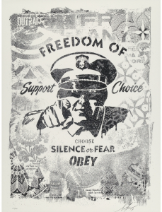 Shepard Fairey, Choose Silence or Fear, Damaged Stencil Series
