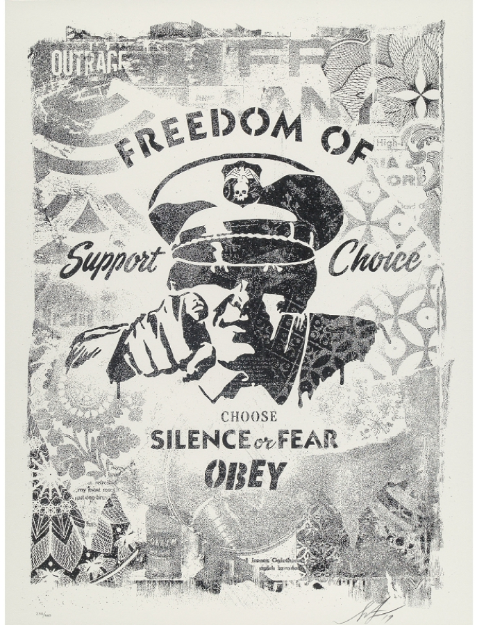 Shepard Fairey, Choose Silence or Fear, Damaged Stencil Series