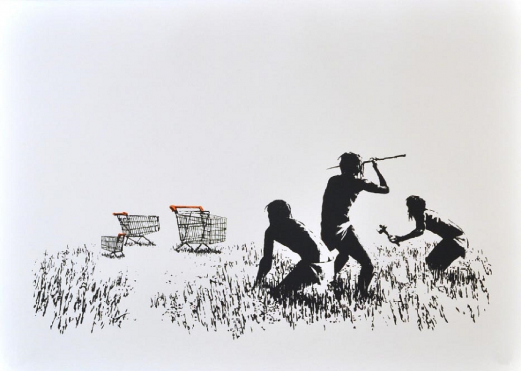 Banksy, Trolleys (Black, 2007 & White)