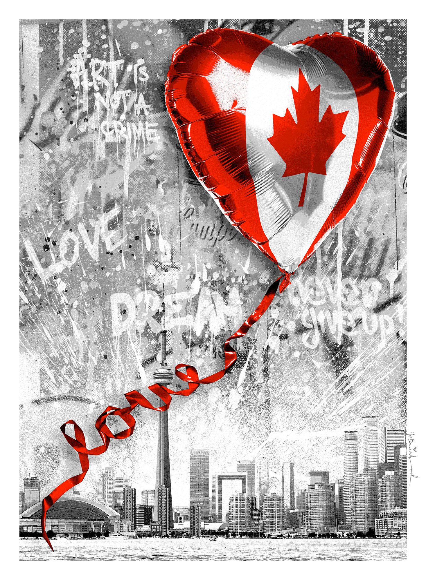TAG TO and MR. BRAINWASH tribute Canada with Charitable, limited edition print